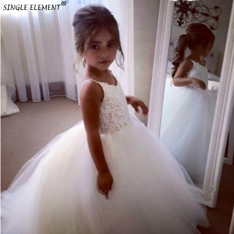 Wholesale White Ivory Flower Girl Dress Puffy Wedding party Princess Lace First Communion