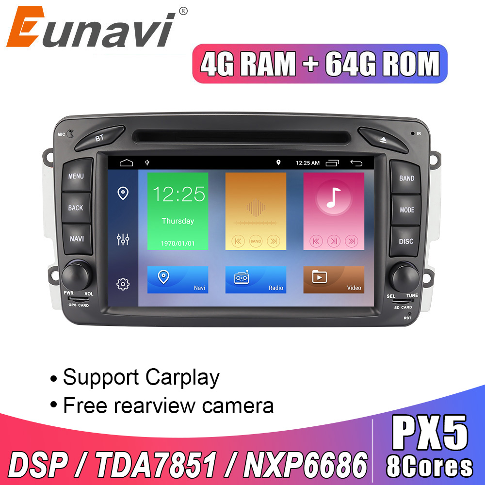 Eunavi 2 Din 7'' <font><b>Android</b></font> 10 Car DVD For Mercedes Benz CLK <font><b>W203</b></font> W208 W209 W210 W463 Vito Viano 2din auto radio stereo with dsp image