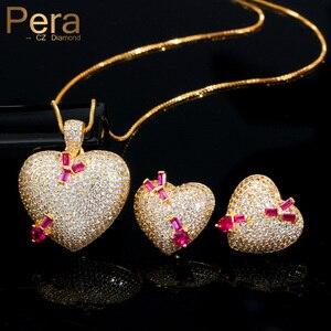 Image 1 - Pera en kaliteli mikro açacağı CZ 585 altın romantik aşk kalp şekli küpe kolye takı setleri bayanlar için yıldönümü hediyesi J302