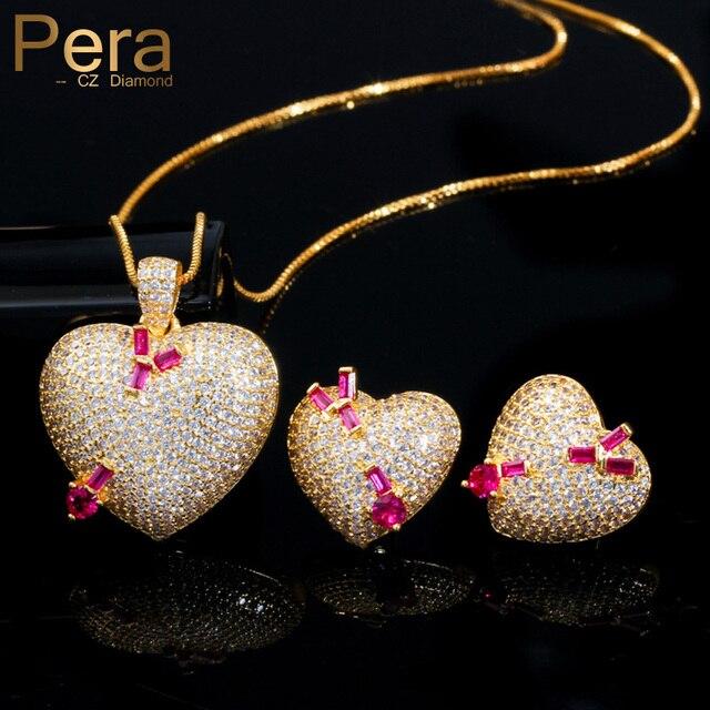 Pera en kaliteli mikro açacağı CZ 585 altın romantik aşk kalp şekli küpe kolye takı setleri bayanlar için yıldönümü hediyesi J302