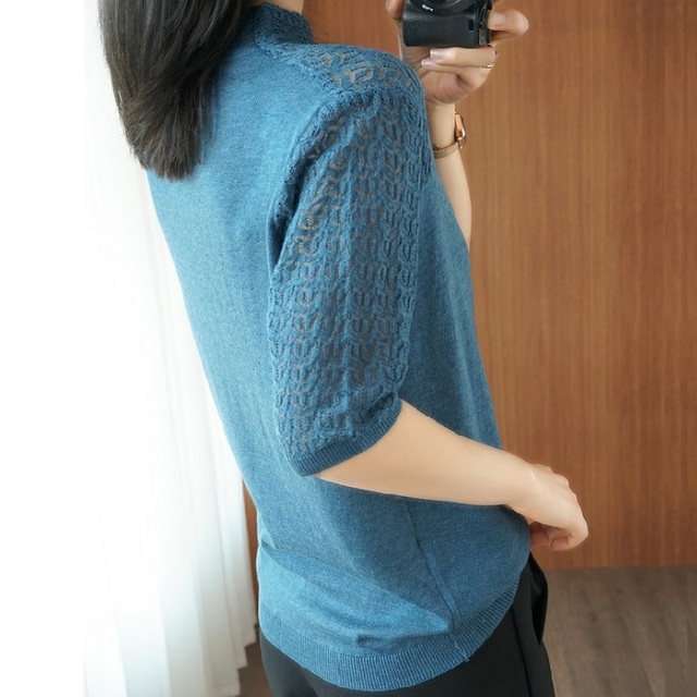 Summer Women knitted Short sleeve 2021 Thin Sweater Female Hollow out Lace Turtleneck Pullover Ladies knit Cotton Purple Jumpers 3