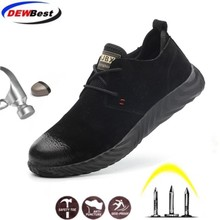 Leather top sale direct sales men and women safety boots outdoor breathable mens shoes steel toe wear resistant workers sports
