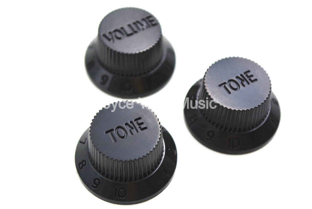 Niko Black No Ink 1 Volume&2 Tone Electric Guitar Control Knobs For Strat Style Electric Guitar Free Shipping Wholesales