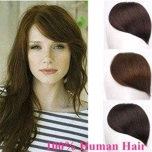 Бразильские настоящие человеческие волосы, боковая челка, заколка в челке, натуральные волосы на заколках, прямые волосы с бахромой для наращивания, Halo Lady Non-remy