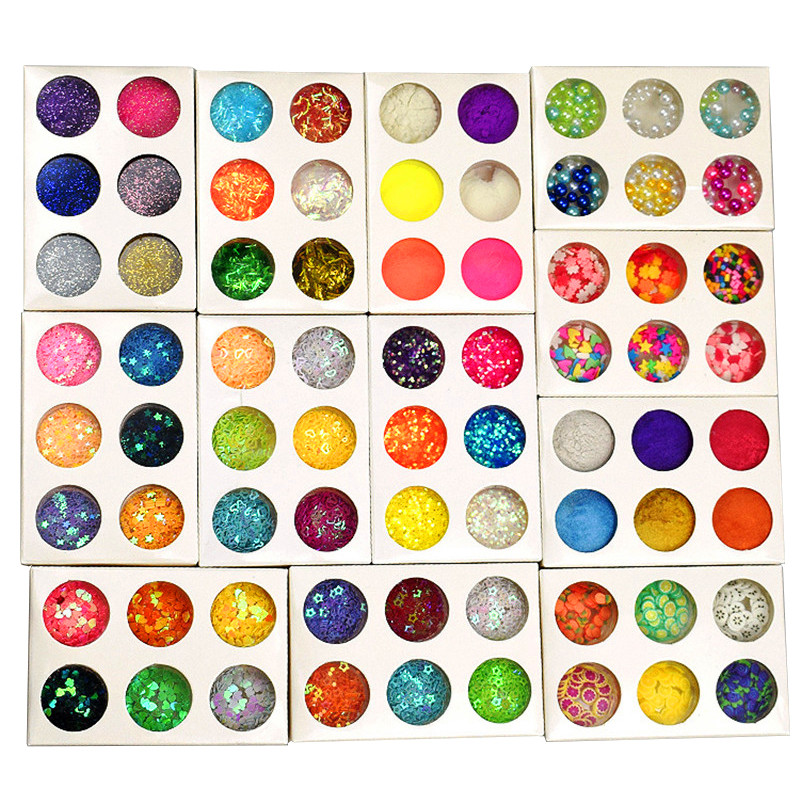 6pcs Slime Sequins Glitter Fruit Filler Transparent Fluffy Mud Box Charms Lizun Slime DIY Kit Accessories Supplies Toys For Girl