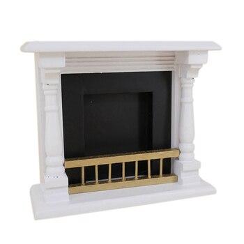 Accesorios para casa de muñecas 1/12 juguetes Mini chimenea de madera decoración muebles en miniatura