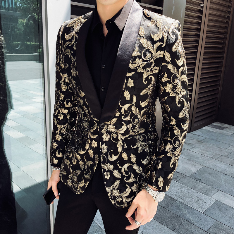 British Style Blazer Hombre Autumn Winter Hot Floral Suit Jackets Men Slim Fit Casual Men Blazer Long Sleeve Night Club Tuxedo