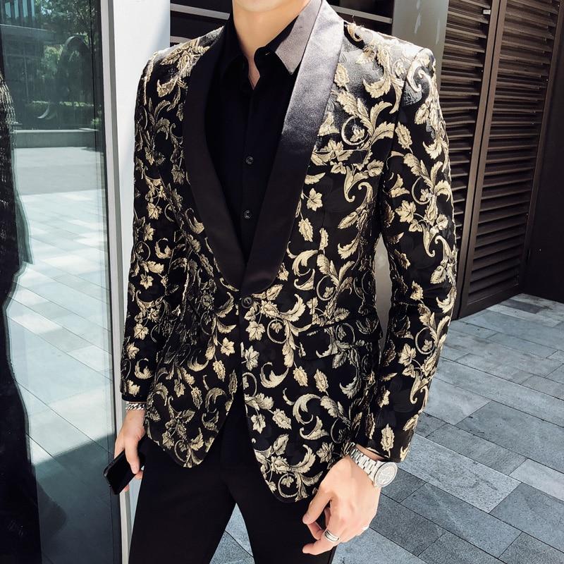 British Style Blazer Hombre Autumn Winter Hot Floral Suit Jackets Men Slim Fit Casual Men Blazer Long Sleeve Night Club Tuxedo