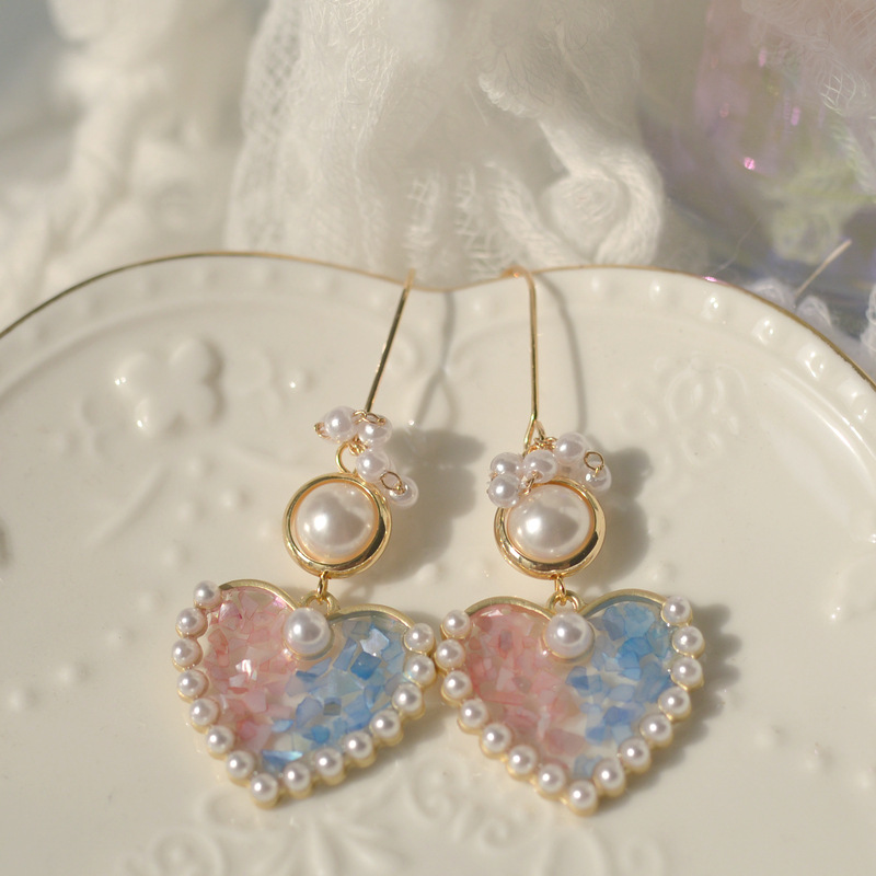 Vintage design Korean temperament pink Aesthetic earring love heart pearl long earring for woman trend серьги женские jewelry