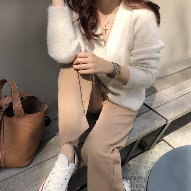 Mooirue Autumn Women Soft White Knitted Cashmere Sweater Double Button Women Warm Jumper V-Neck Winter Sweater 31