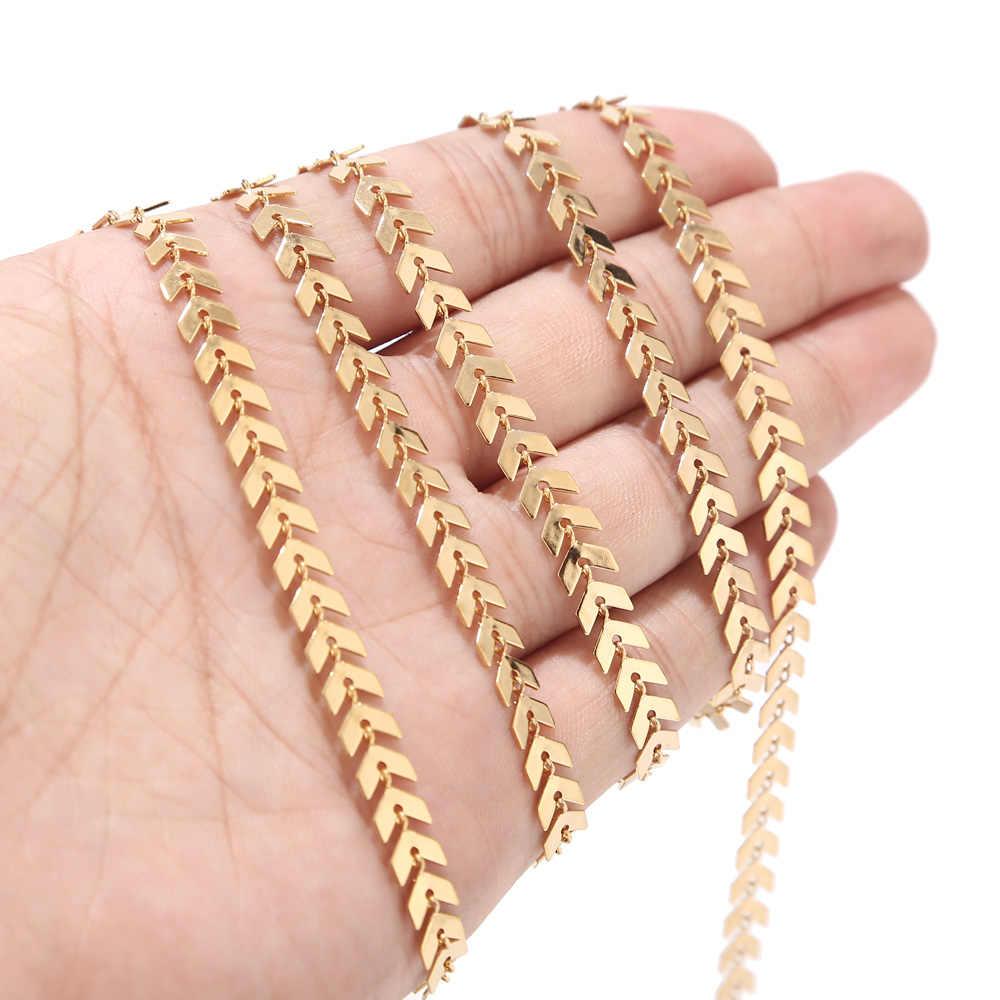 1 Meter 6mm Breite Edelstahl Chevron Link Kette Gold Ketten für Halskette Armband Fußkettchen DIY Schmuck Machen Lieferungen