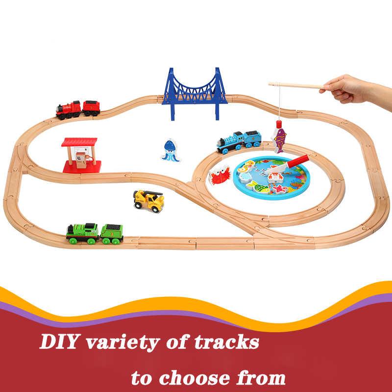 Деревянная железная дорога прямой и изогнутый расширительный трек Take-n-Play моторизованная электрическая железная дорога игрушки подходят T-homas деревянный поезд