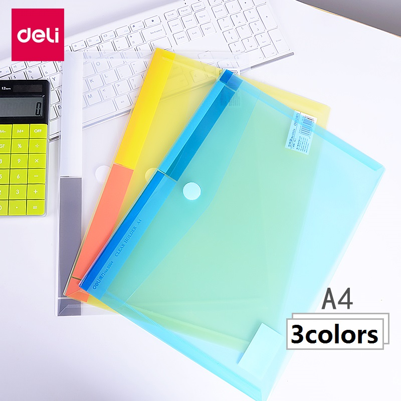 3Pcs Transparent Plastic Folder Magic Button Velcro Document Bag A4 File Cover Business Office Files School Test Paper 5504