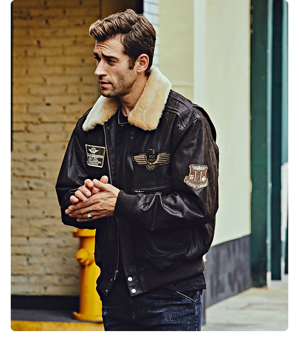 Hdc7b7bd6dbe74d7d8d39ee692b34177e0 FLAVOR New Men's Real Leather Bomber Jacket with Removable Fur Collar Genuine Leather Pigskin Jackets Winter Warm Coat Men