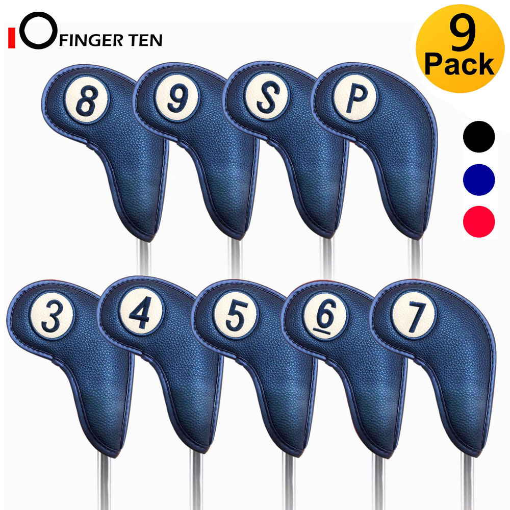 9 Pcs/Set Long Neck Golf Iron Head Covers Strong Magnetic Closure Leather Both Side For Left Or Right Handed Golfer