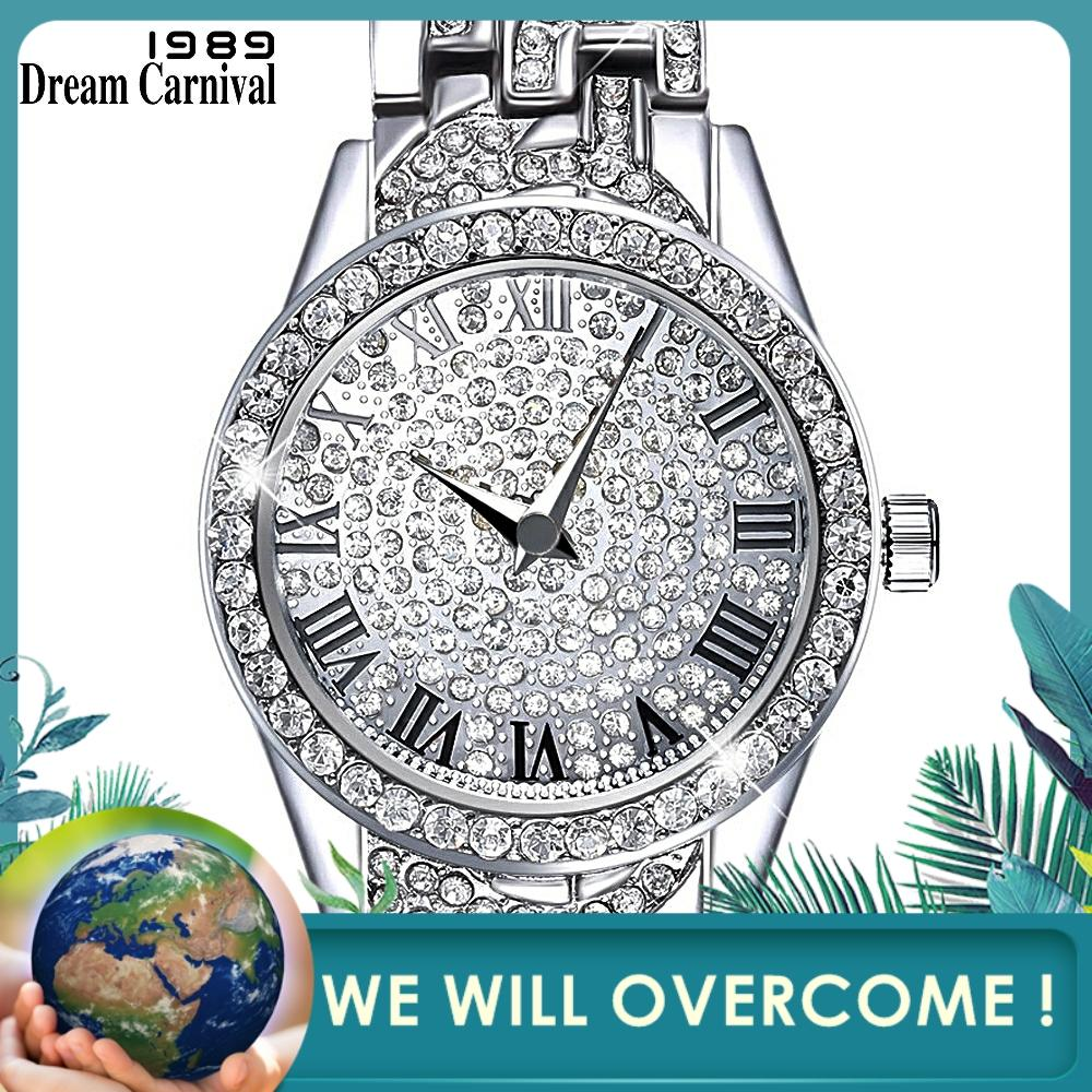 Dreamcarnival 1989 Crystals Watch For Ladies Black Roman Letters Index Stone Dial Alloy Bracelet Quartz Movement Xmas Gift A8314