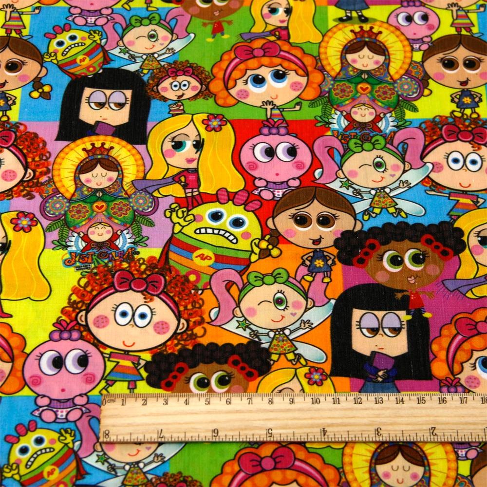 50*140 см мультфильм дизайн полиэстер хлопок ткань для ткани дети девочки платье Домашний текстиль для шитья ремесла, c2445 - Цвет: 1054028001