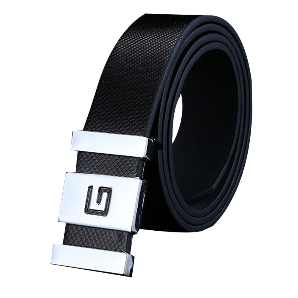 Jaycosin Fashion Unisex Automatic Buckle Leather Waist Strap   Belts   Buckle Casual Wild Stylish Popular Simple Smooth   Belt