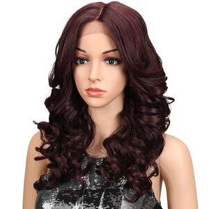 """Image 2 - M 20 """"นิ้ว Ombre GOLD Dark สีแดงวิกผมหยักยาวคอสเพลย์วิกผมลูกไม้ด้านหน้าลูกไม้วิกผมสำหรับผู้หญิงสีดำหลวม WAVE Wigs"""