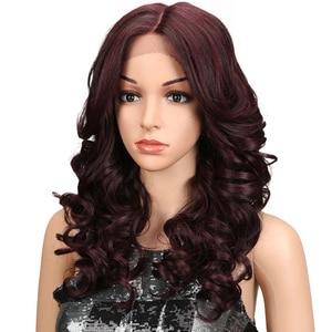 "Image 2 - M פאה 20 ""אינץ Ombre זהב כהה אדום ארוך גלי פאות Perucas קדמי תחרה שיער סינטטי פאות תחרה עבור שחור נשים Loose גל פאות"