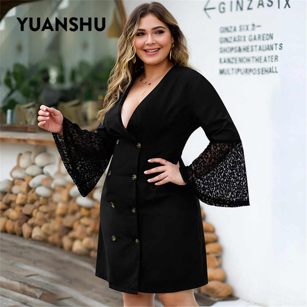 YUANSHU siyah seksi artı boyutu diz boyu elbise kadınlar derin V boyun kruvaze dantel parlama kollu elbise XL-4XL büyük boyutu