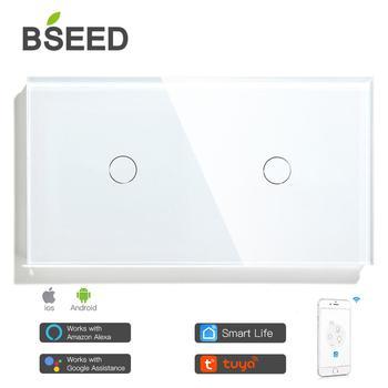 BSEED WIFI podwójne przełączniki światła inteligentny czujnik dotykowy przełączniki ścienne Google Alexa inteligentne życie App sterowanie 2Gang inteligentne przełączniki dotykowe tanie i dobre opinie CN (pochodzenie) ROHS Need Neutral Wire Kontrola aplikacji