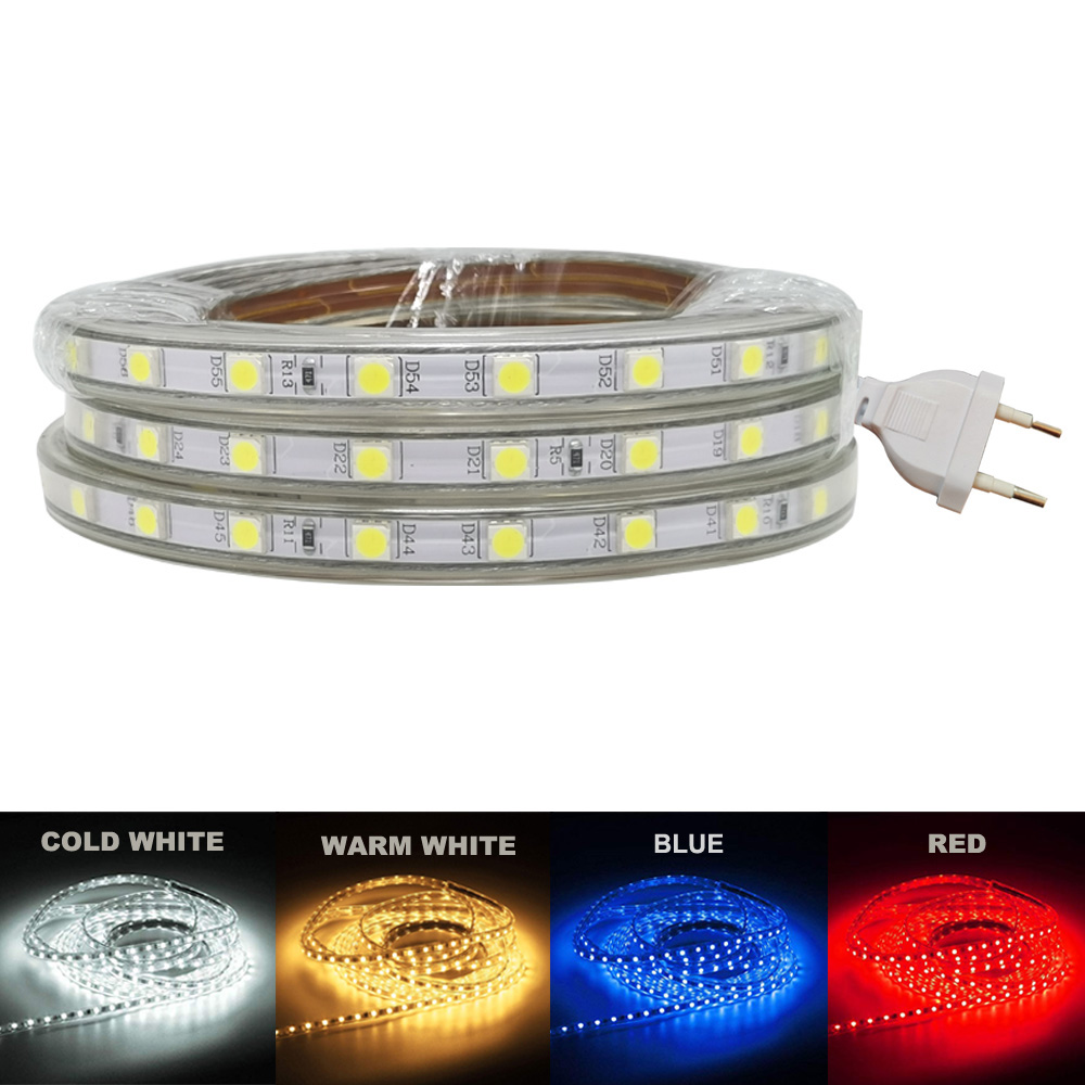 LED Tape IP65 AC220V  Waterproof AC 220 V SMD5050 LED Strip Warm White Cold White Blue Red Color 220V EU Plug Outdoor LED Strip