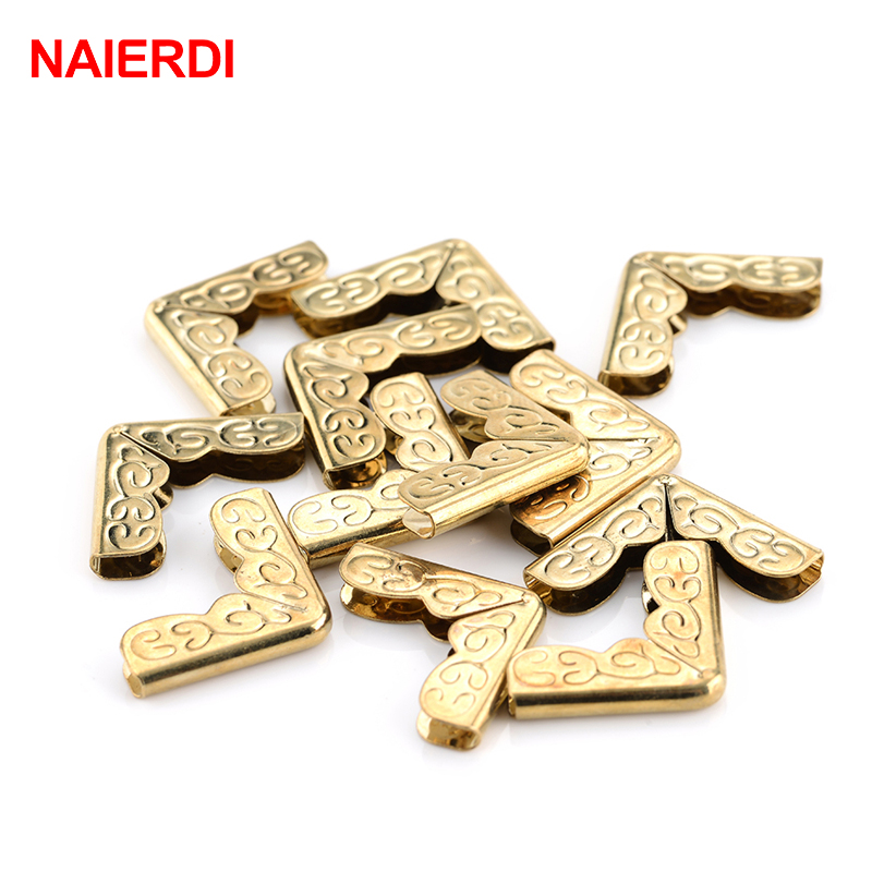 NAIERDI 100pcs Antique Brass Corner Brackets Metal Book Scrapbooking Notebook Albums Menus Folders Corner Protectors Bronze Tone