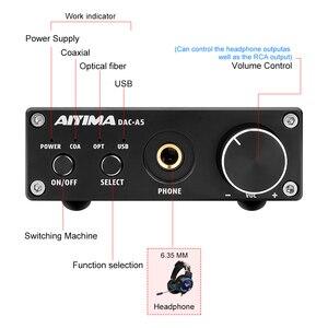 Image 2 - Aiyimaハイファイオーディオデコーダusb dacステレオTPA6120A2ヘッドフォンアンプ24Bit 192 usb/同軸/光入力rca 6.35ミリメートル出力
