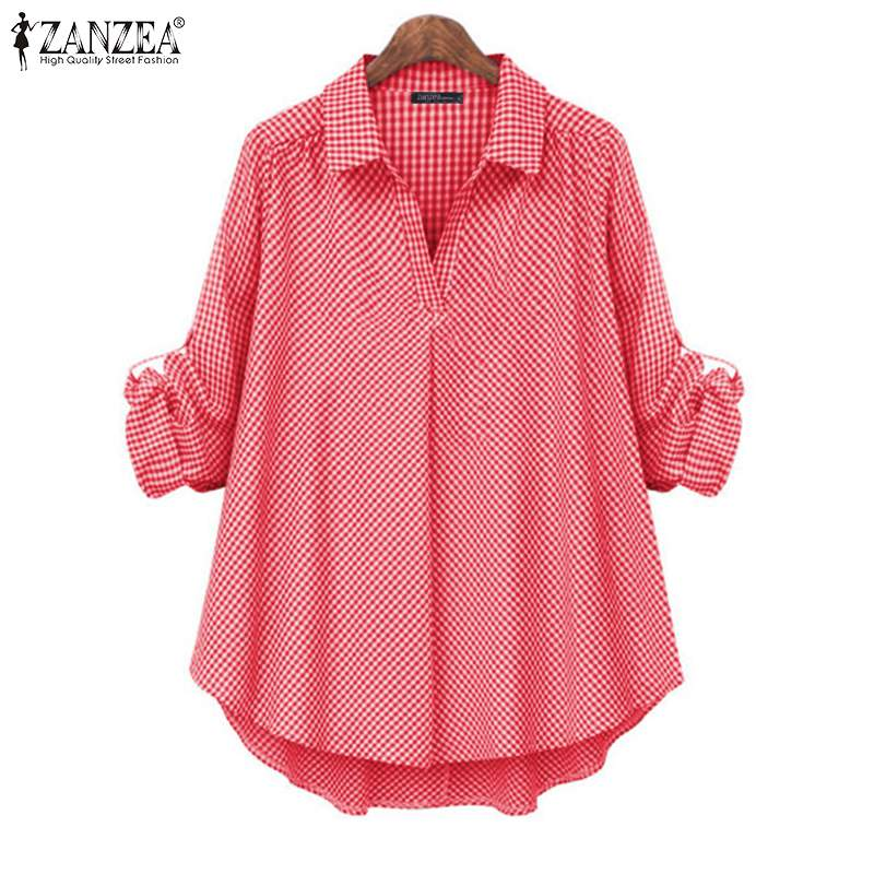 Women Plaid Check Blouse ZANZEA 2019 Autumn Ladies Lapel Neck OL Shirt Female Casual Cotton Linen Tunic Tops Blusas Plus Size 7