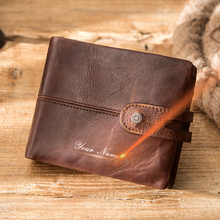 Contact's Casual Wallet Men Genuine Leather Wallets Small Coin Purse Hasp Design Leather Money Bag Male Card Holder Wallet RFID