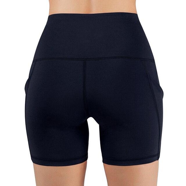 Slim Solid Shaper Sport Women Shorts Pocket High-Waist Hip Stretch Biker Short Running Fitness Athletic Casual Skinny Short 5