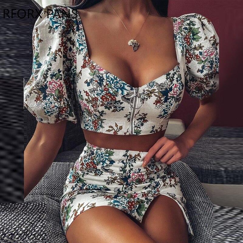 Women Floral Print Puffed Sleeve Crop Top & Skirt Sets Two Piece Set