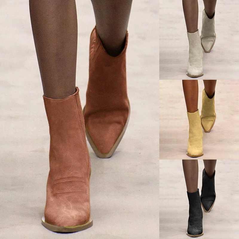 PUIMENTIUA ผู้หญิงข้อเท้ารองเท้าหนังแท้ SLIP-ON ฤดูหนาวหิมะรองเท้าผู้หญิงรองเท้าหนังนิ่มสุภาพสตรี Botas
