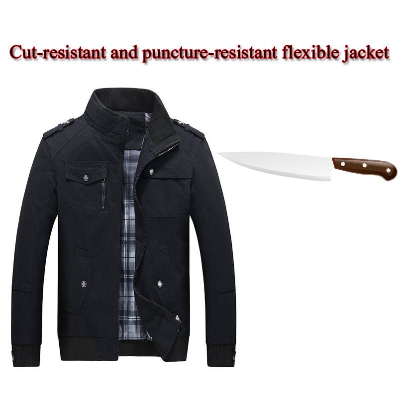 2020 Self-defense Anti-Hacker Stab-resistant Jacket Fashion Plus Size Stand Collar Fbi Police Tactical Stealth Safety Clothing