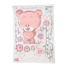 Pink Bear wallpaper for bedroom Wall Sticker Nursery infant girl kids cute Kids Bedroom Art Decal(China)