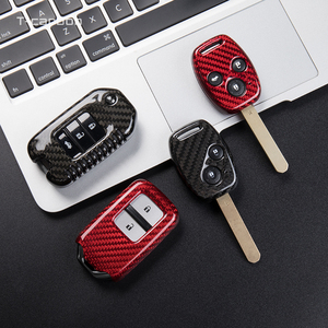 Image 3 - Karbon Fiber araba anahtarı durum kapak Honda CRV Odyssey Accord 2013 2017 Civic Pilot Fit serbest HRV XRV vezel caz BRV aksesuarları