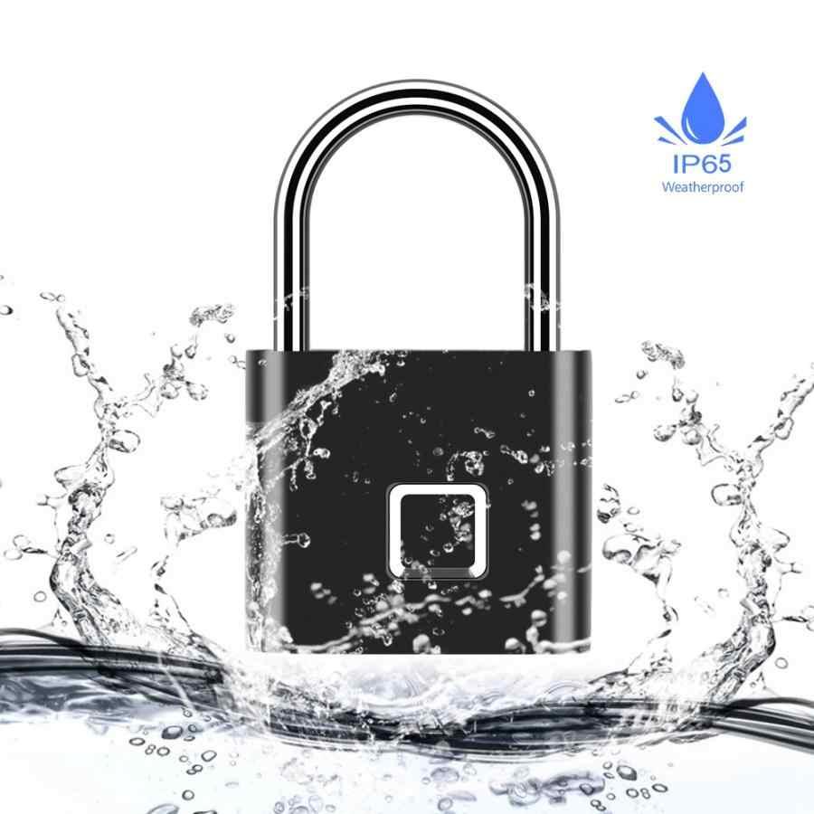 Serrure de porte Rechargeable USB sans clé de sécurité cadenas intelligent d'empreinte digitale déverrouillage rapide en alliage de Zinc IP65 étanche sac à dos cadenas