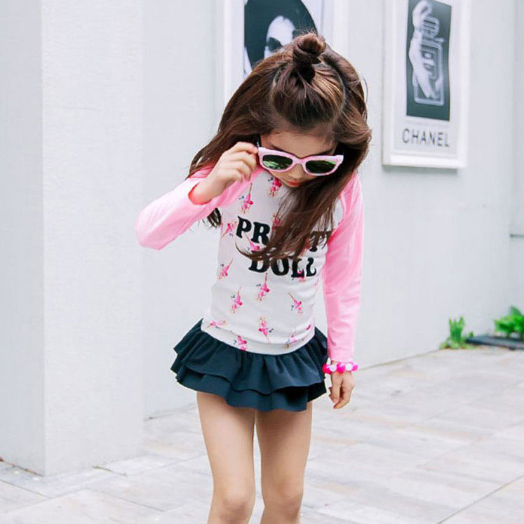 KID'S Swimwear Split Skirt-GIRL'S Long Sleeve Sun-resistant Cute Princess Students Girls South Korea Quick-Dry Baby Swimwear