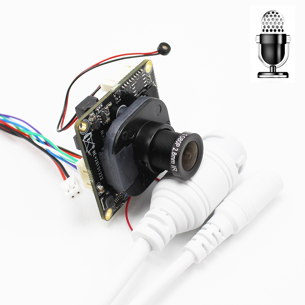 Multi-language 2MP Mini IP Network Camera Module Board With Audio Pickup Microphone Full HD 1080P XMeye App With LAN Cable ONVIF