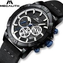 Relogio Masculino Megalith Sport Waterdicht Horloge Mannen Top Brand Luxe Lichtgevende Chronograaf Horloges Voor Mannen Lederen Band Klok