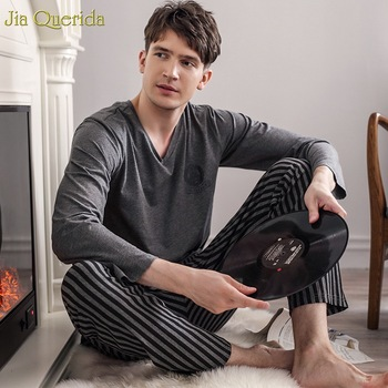 Pajamas Sleeping Suits for Men Fashion Sleepwear Modal Classy Pijama Hombre Plain Grey Male Pyjamas Long Sleeves - discount item  43% OFF Men's Sleep & Lounge