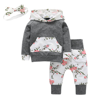 Previous Next Baby Girl's Floral Hoodie and Pants Set with Headband 1