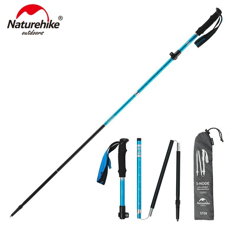 Naturehike 1Pcs New Folding Ultralight Walking Stick 5-section Climbing  Walking Hiking Adjustable Aluminum Alloy Trekking Poles
