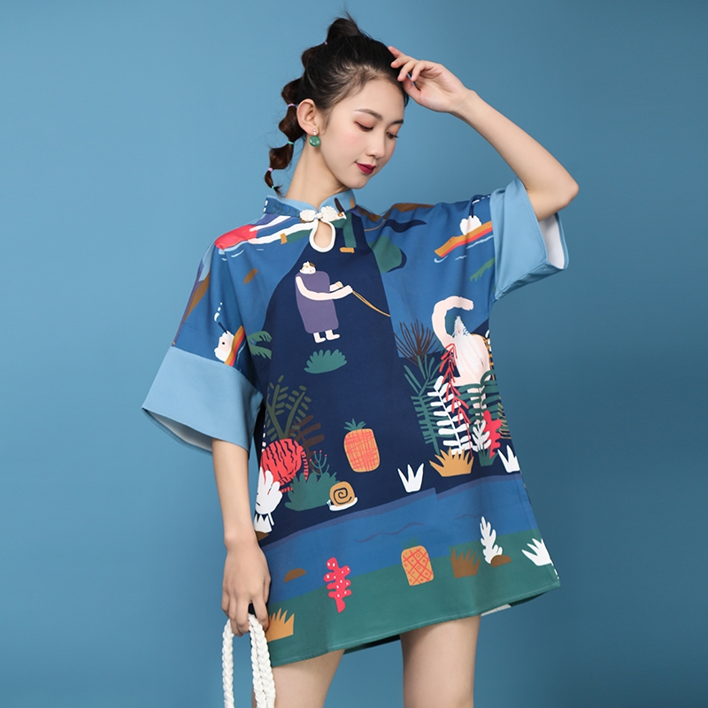 New Spring Spot Real Shot New Improved Cheongsam Chinese Style Student Slightly Fat Girl Daily Loose National Tide Short Section
