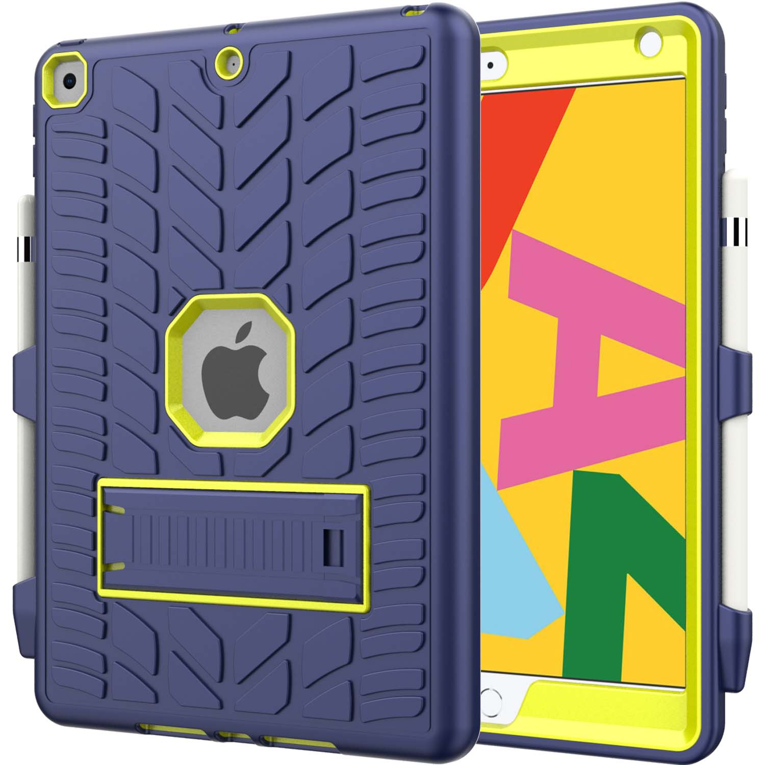 2 Blue For iPad 8th Generation 10 2 Case 2020 with Pencil Holder Tire Pattern Shockproof Hard PC