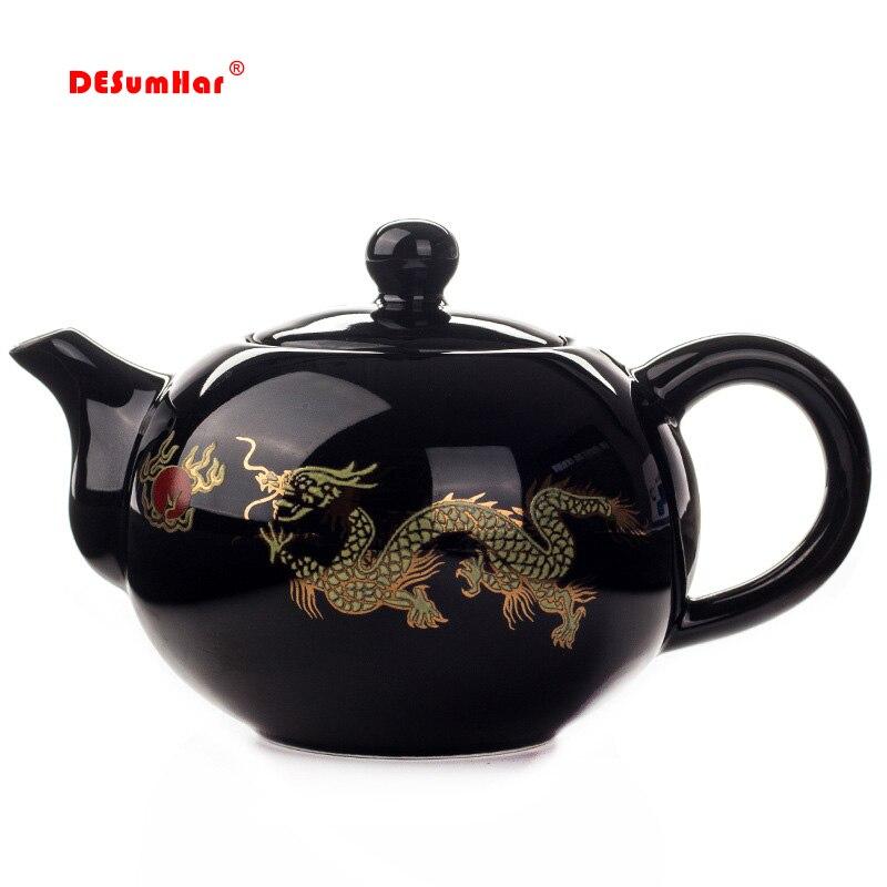 Black Ceramic Tea pot Chinese Dragon TeaPot handmade Teapot easy teapot kettle Ceramic Tea Set Kettle Kung Fu Teaware title=