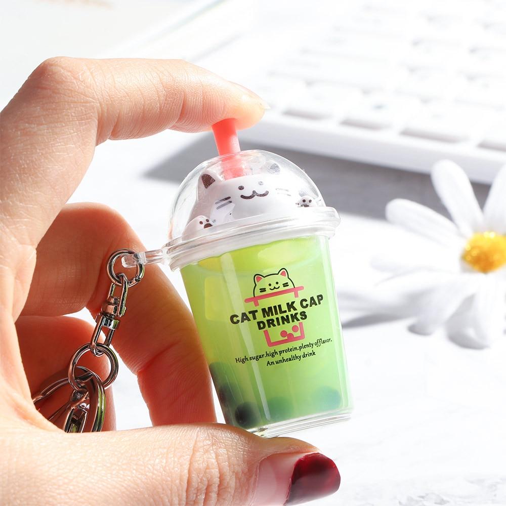 Milk Tea Cup Liquid Crystal Quicksand Sequin Key Ring Keychain Cartoon Cat Baby Pretend Play Toy For Women Bag Pendant Key Chain