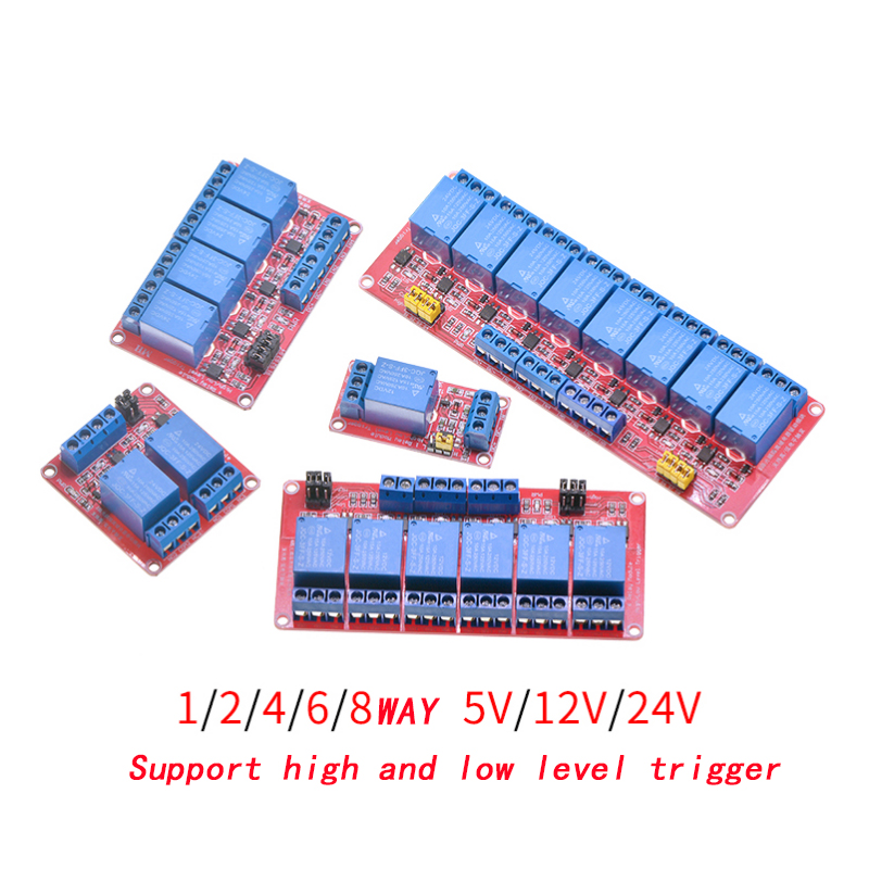 1 2 4 6 8 Channel 5V <font><b>12V</b></font> <font><b>24V</b></font> Relay Module Board Shield with Optocoupler Support High and Low Level Trigger for <font><b>Arduino</b></font> image