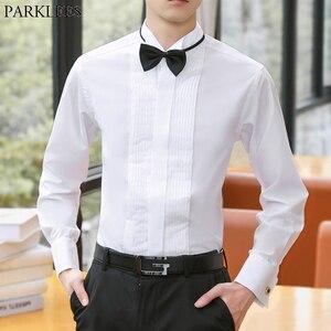 Мужская французская запонка рубашка-смокинг Slim Fit Wingtip воротник Мужская рубашка с длинным рукавом формальная Свадебная рубашка жениха Chemise ...